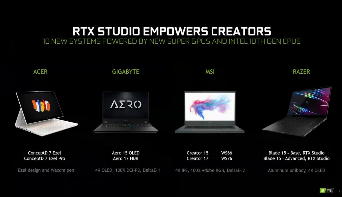 rtx studio laptops
