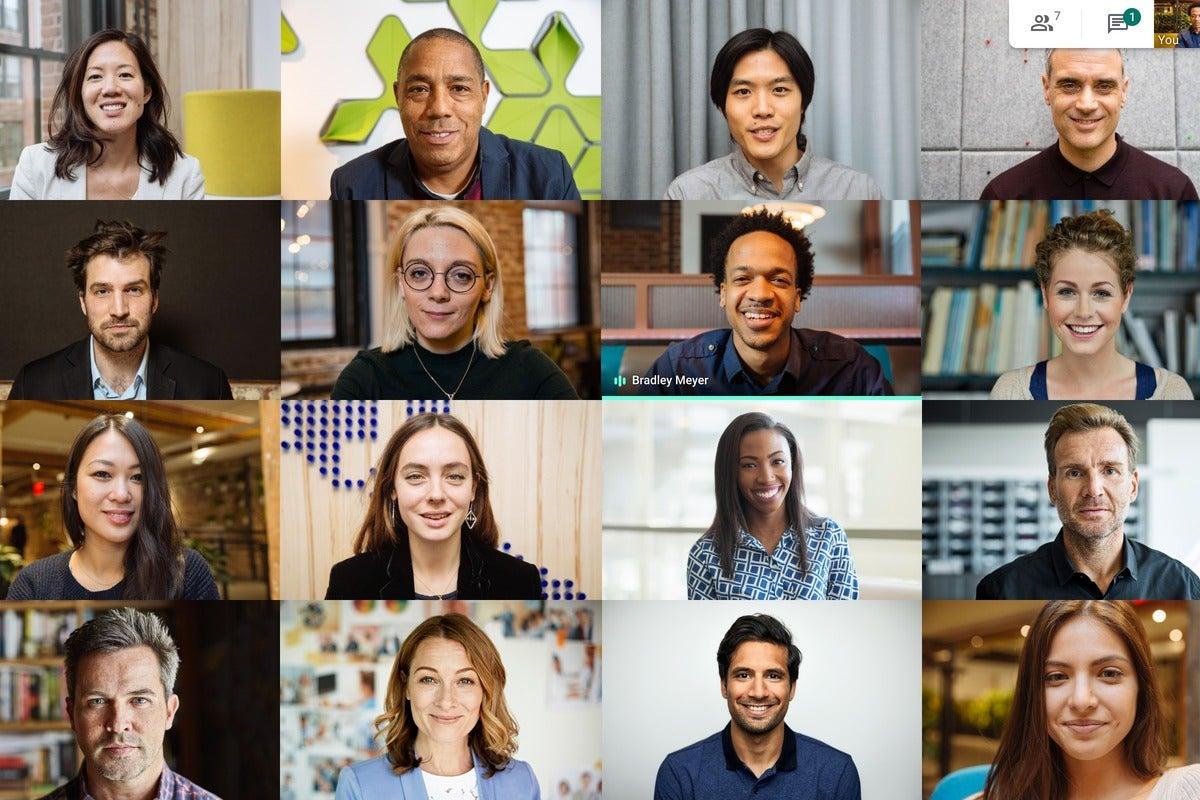 tiled layout 16 participants google meet