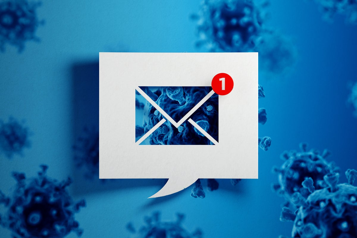 A white speech bubble with an email icon indicating a new unread message against a viral background.