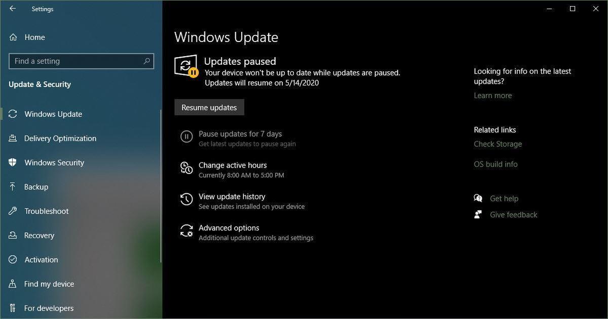 1909 updates paused