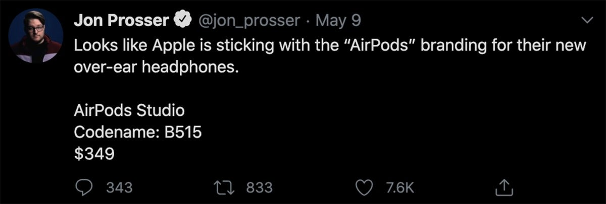 airpods prosser tweet