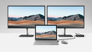 Microsoft surface book 3 with monitors attached