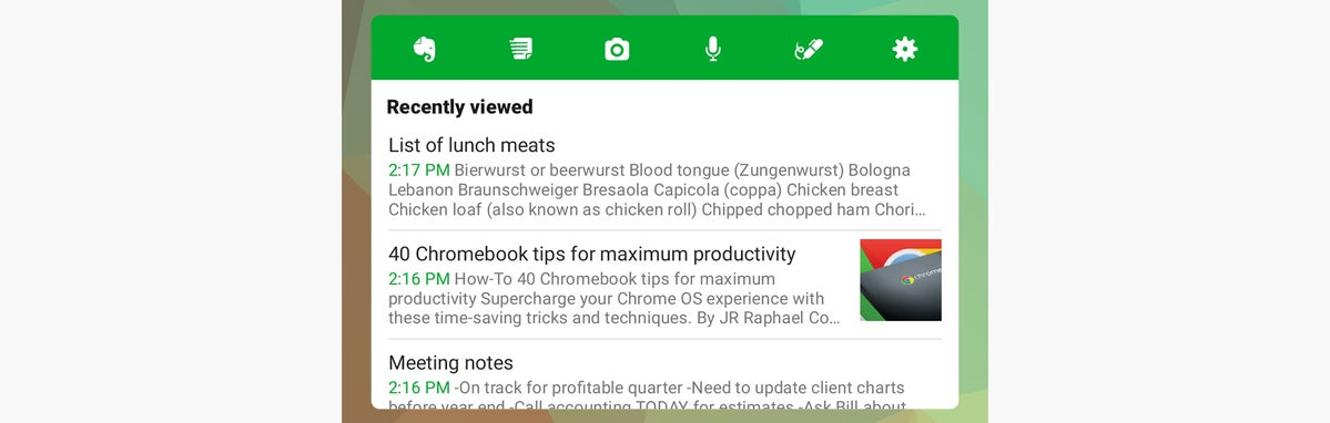 widgets de android evernote