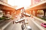 CCTV security cameras gather data during traffic surveillance.