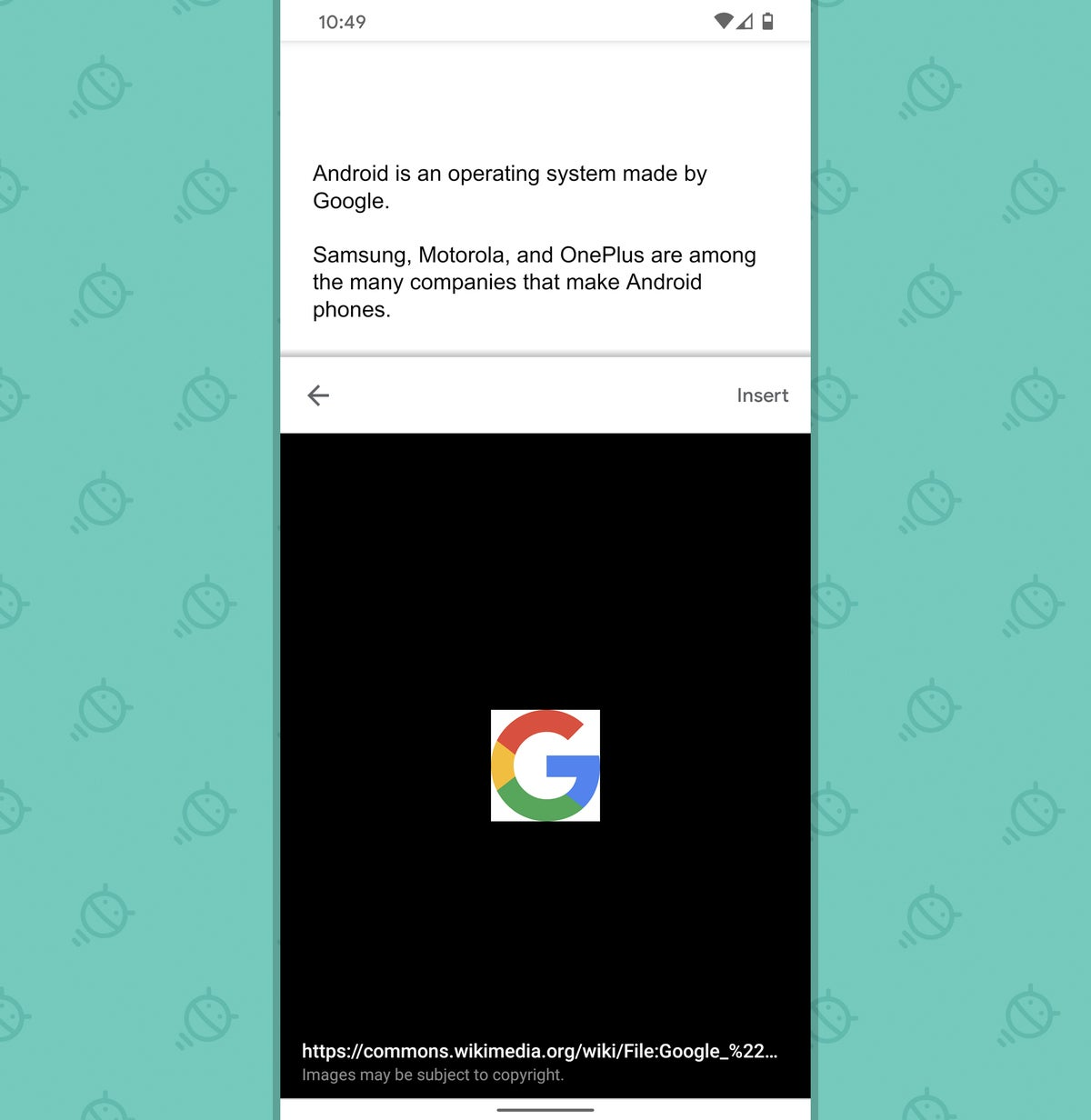 Google Docs Android: Explorar - insertar imagen