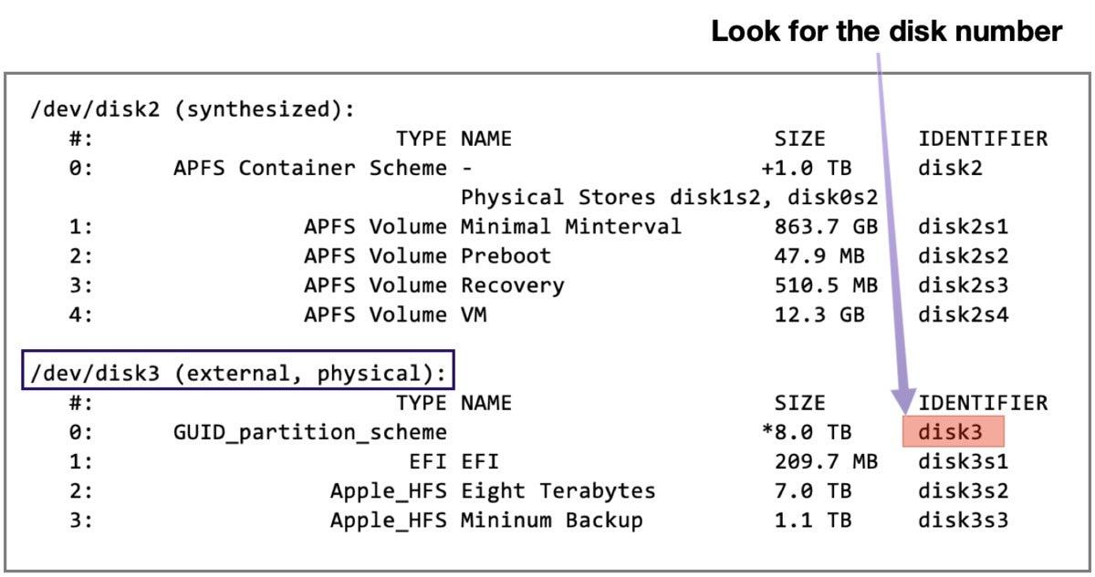 mac911 disk number terminal