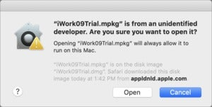 mac911 old iwork installer warning