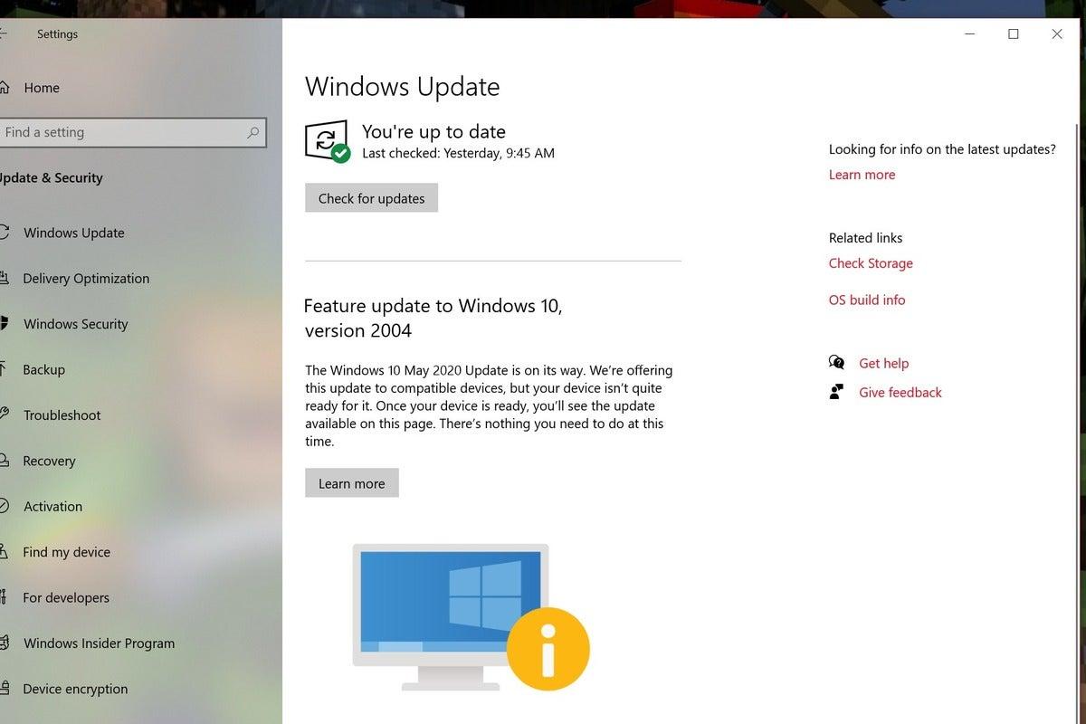 Microsoft windows 10 2004 on hold