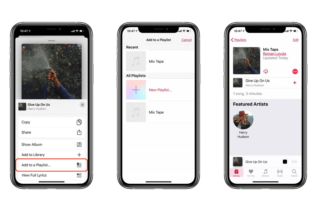 add beats 1 song to playlist ios