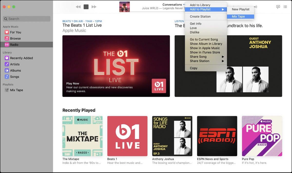 add beats 1 song to playlist mac