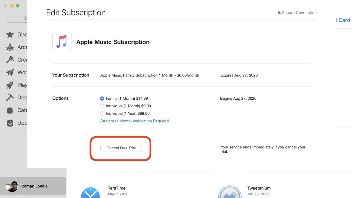 app store catalina music cancel subscription