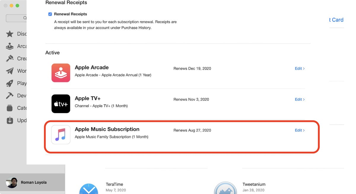 app store catalina music manage subscription