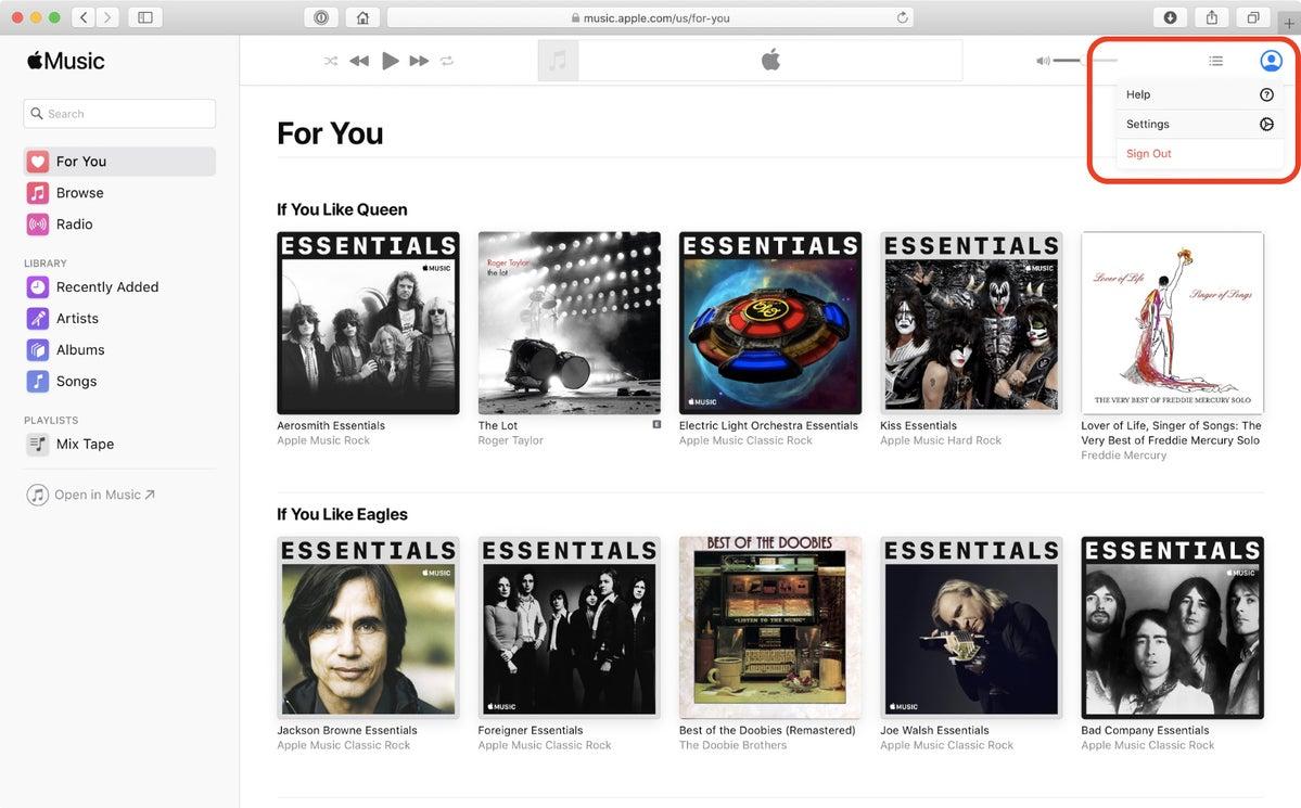 apple music web account settings button