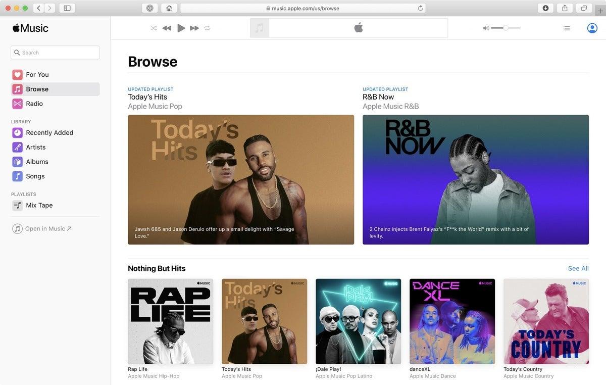 apple music web interface catalina