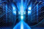 A binary matrix overlays a network / datacenter / server room.