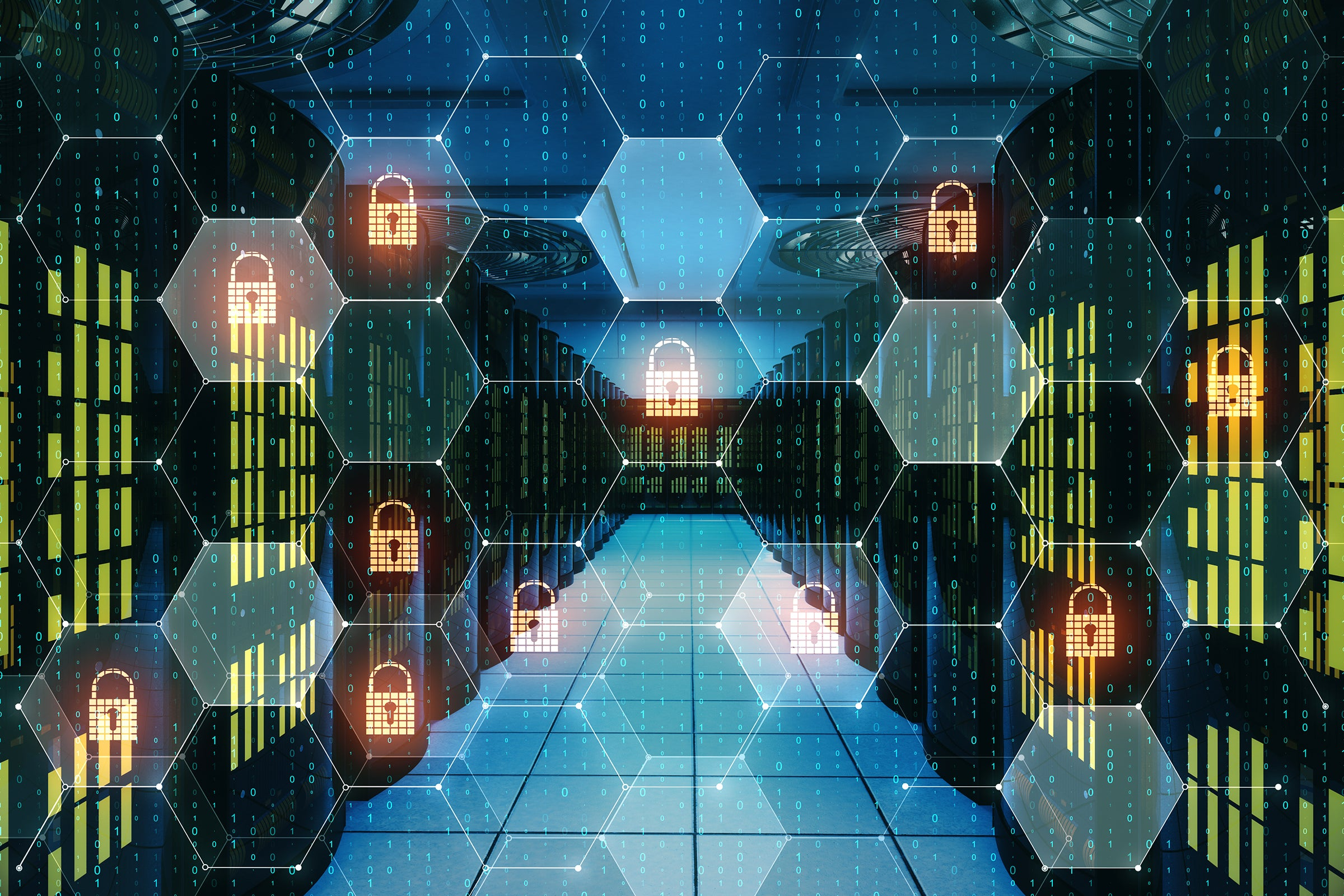 A conceptual security grid of locks overlays a network / datacenter / server room.