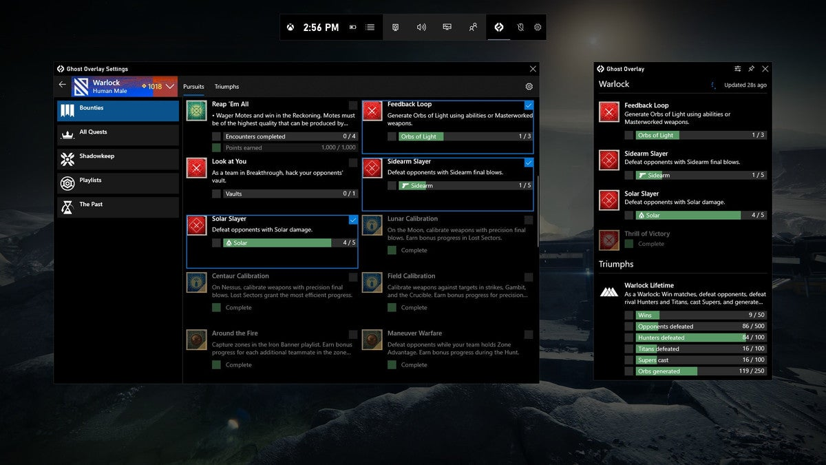 Microsoft xbox game bar destiny 2 ghost widget