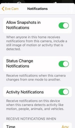 eve cam notifications