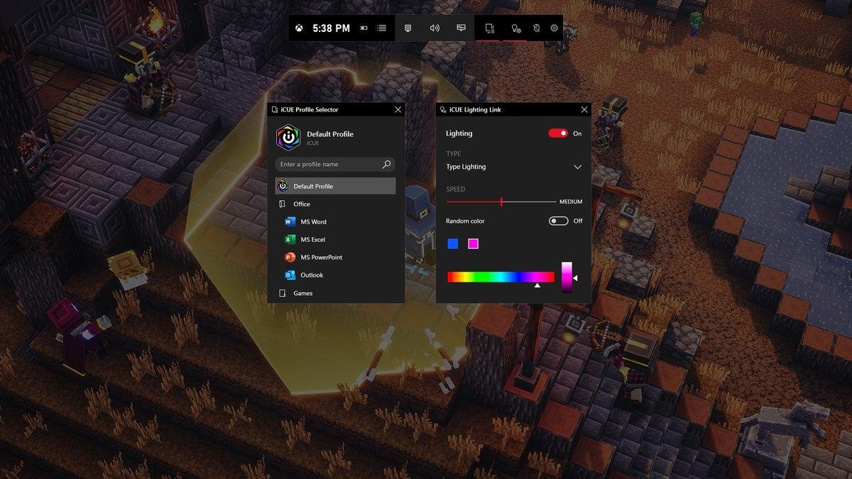 Microsoft xbox game bar  icue widget