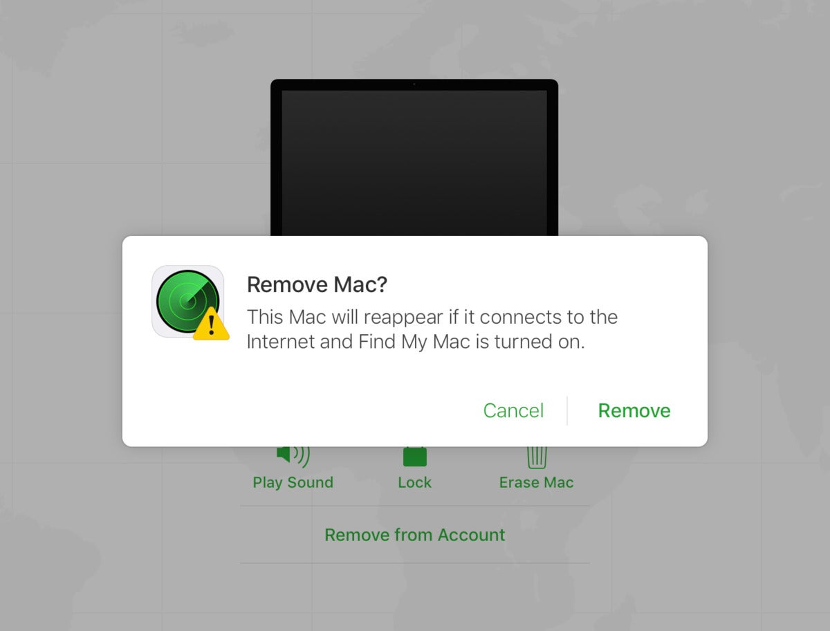 mac911 remove from account