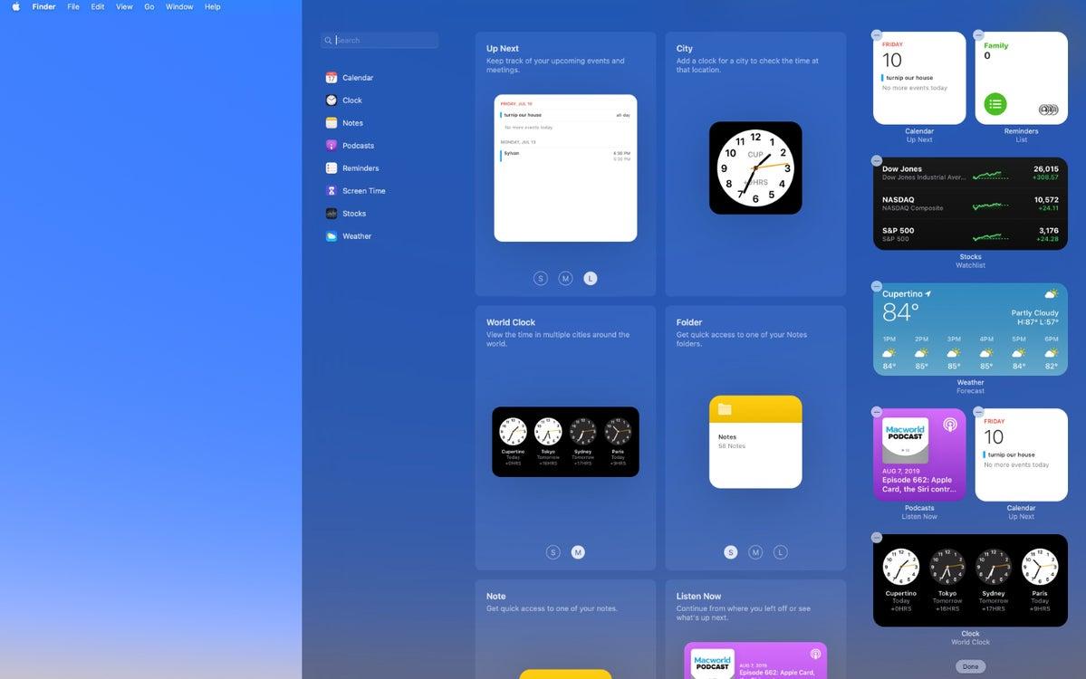 macos big sur notification center new widgets