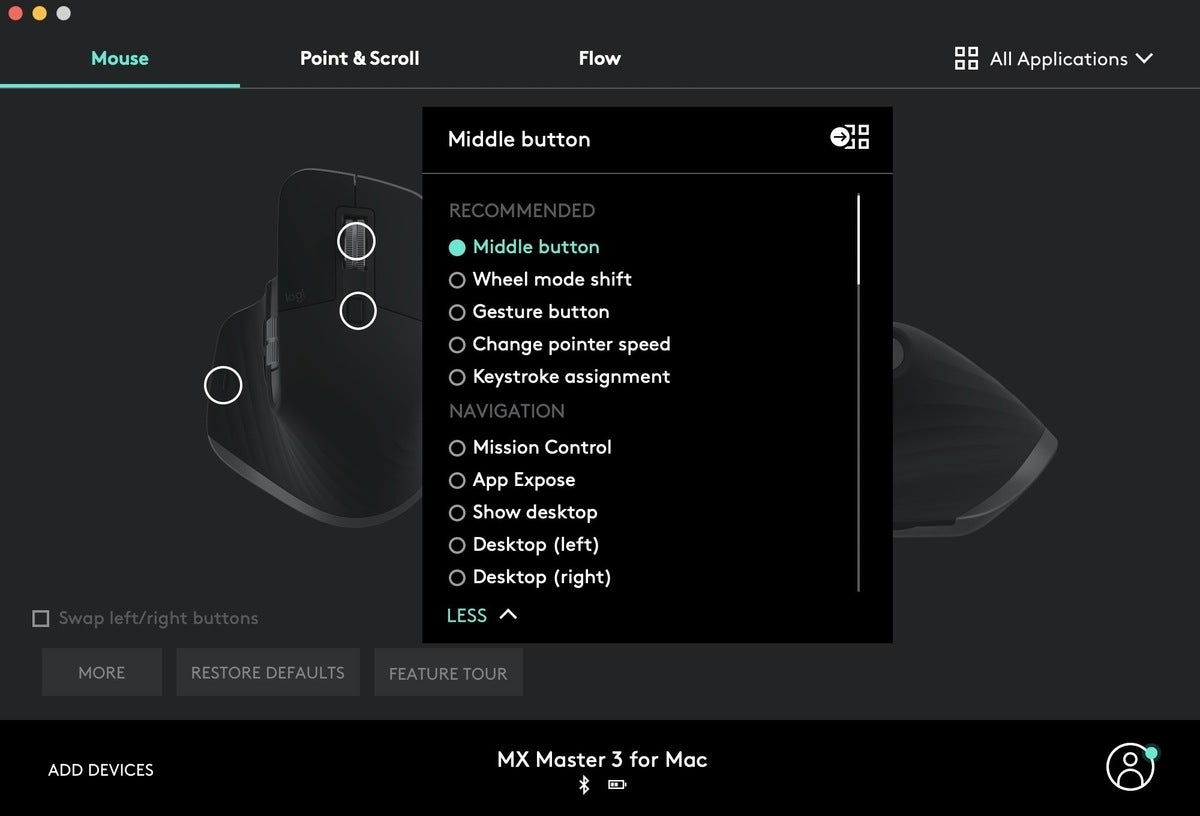 mx master 3 for mac options