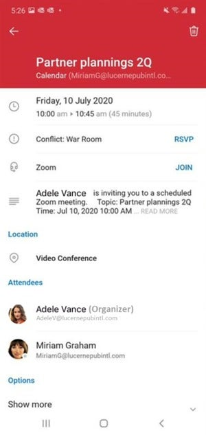 Microsoft Outlook one tap join button for 3rd party meetings outlook mobile
