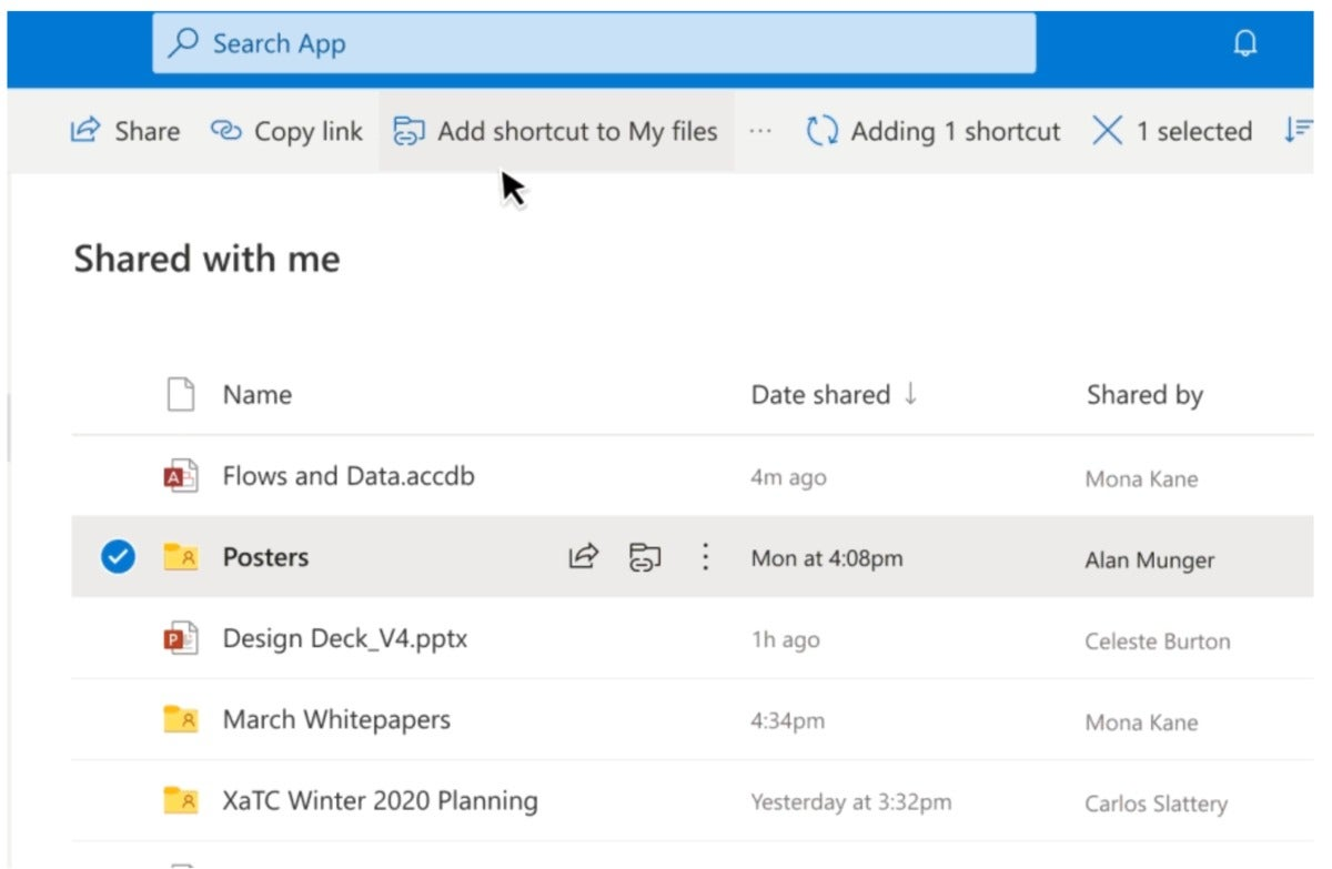 Microsoft onedrive add shortcut to my files
