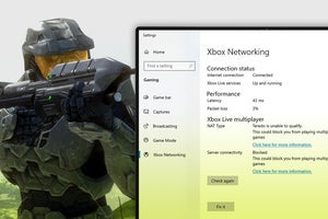 master chief next to windows 10 xbox networking status screen