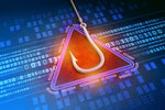 Phishing attack   >   A fish hook hover above binary code with a caution triangle.