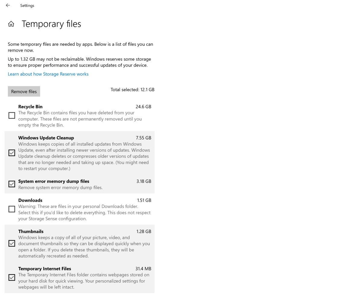 Microsoft Windows 10 temporary internet files