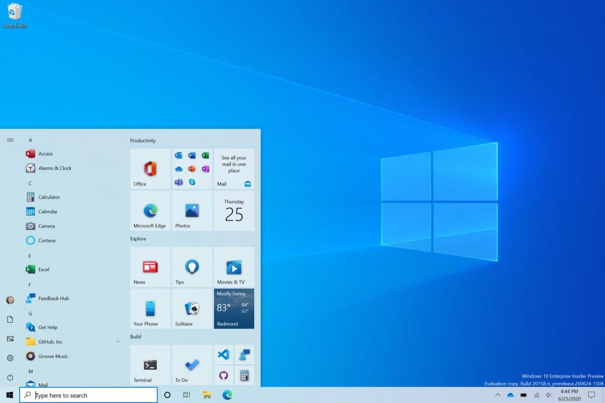 Microsoft windows start menu insider build light