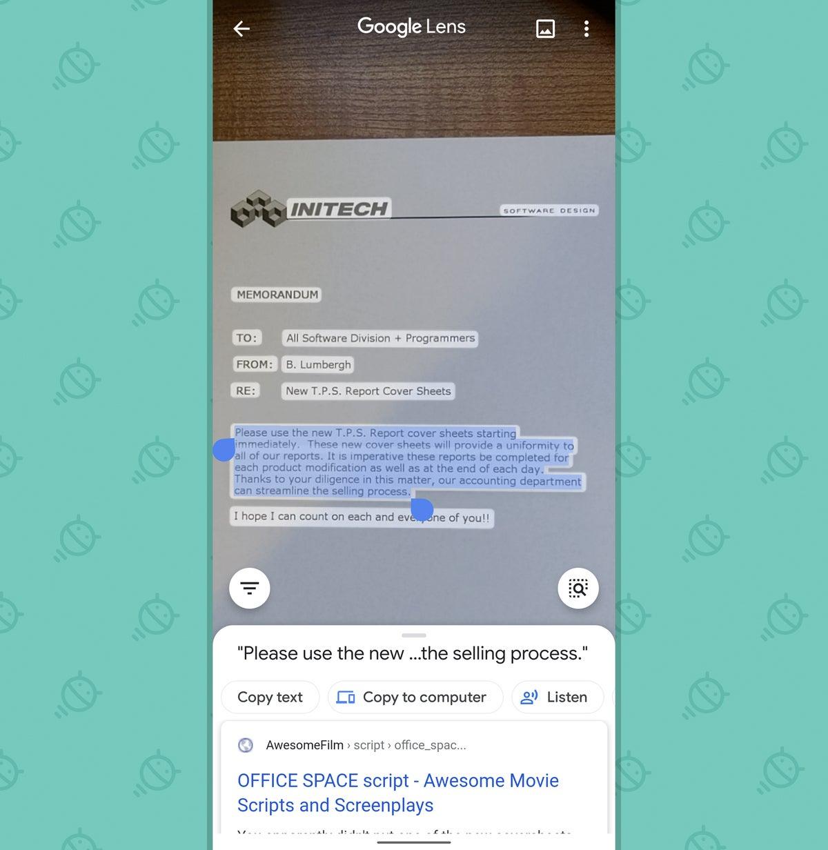 Google Lens App: Select text