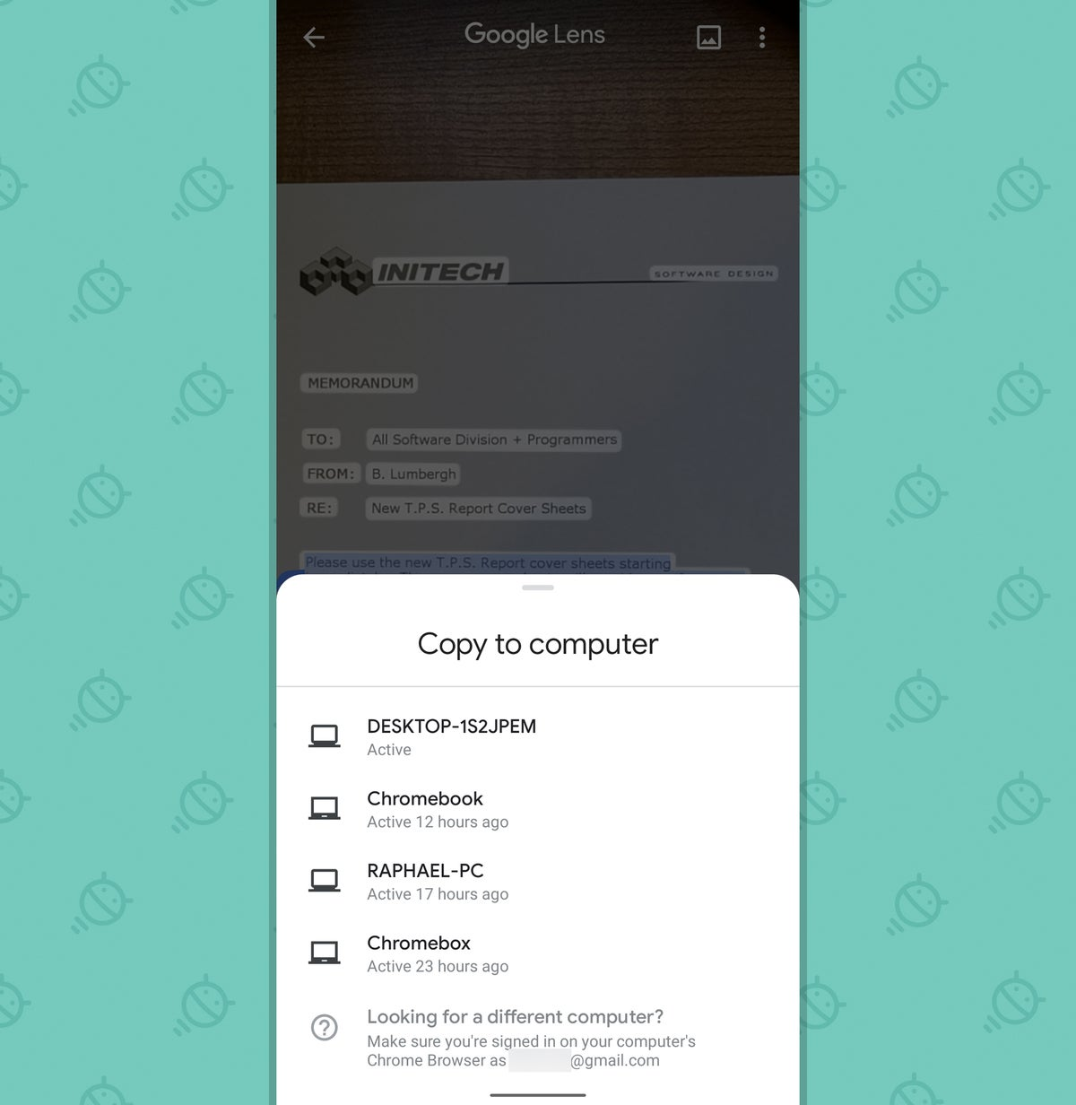 Google Lens App: Copy to computer
