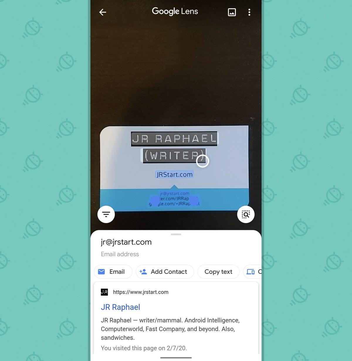 Google Lens App: Send email