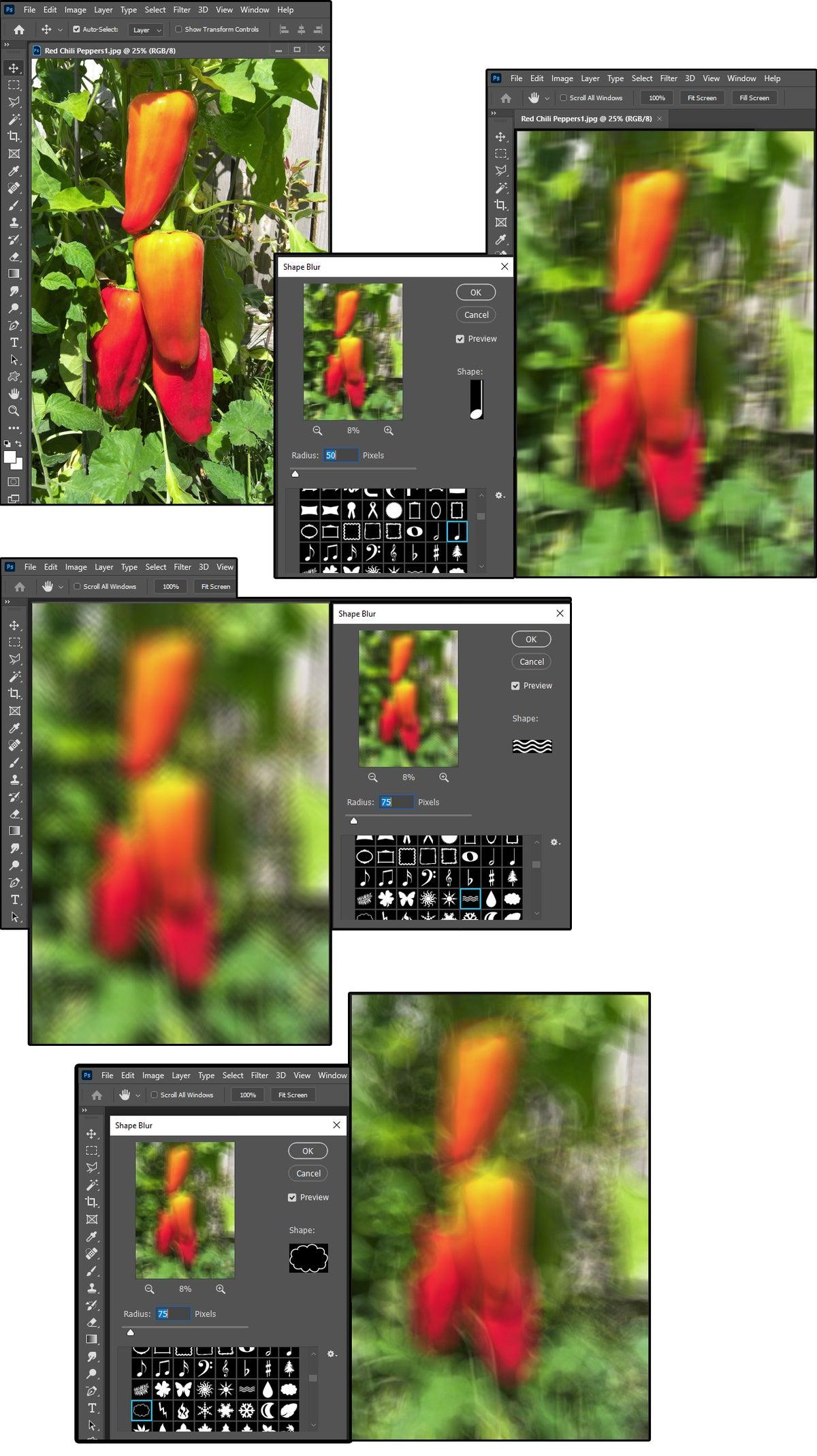 08 photoshops shape blur uses shape presets