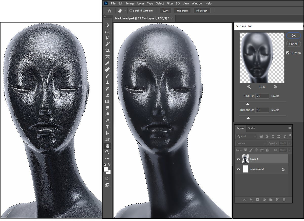 10 the surface blur can smooth out roughest surfaces