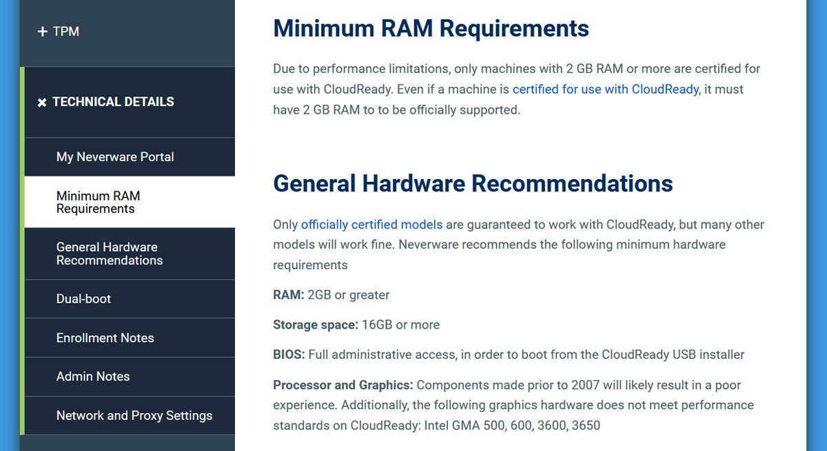 Neverware CloudReady system requirements