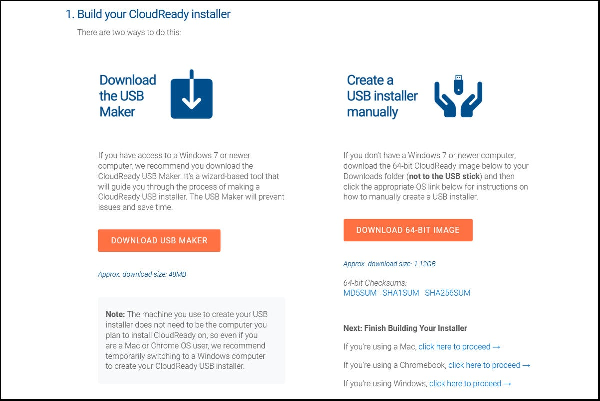 Neverware CloudReady Home Edition installation info