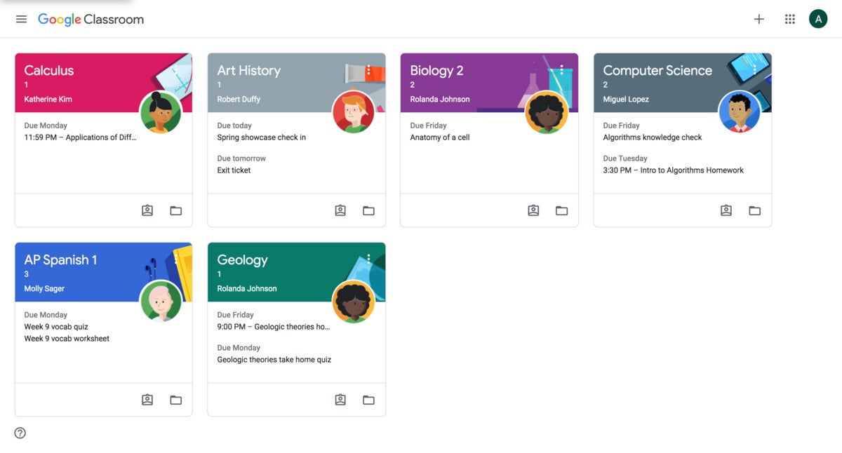 Google Classroom student view homepage