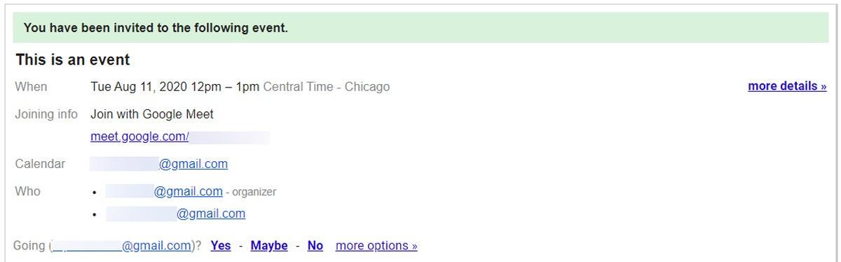 Invitación al calendario de Google Meet