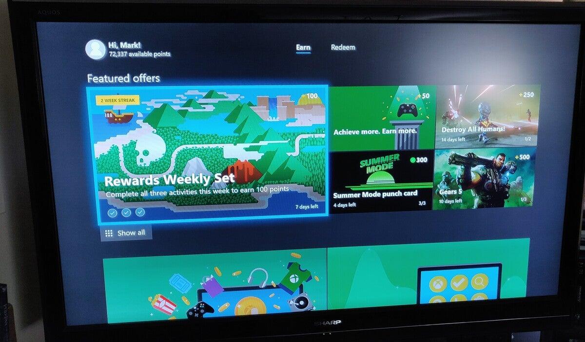 Microsoft Rewards dashboard Xbox