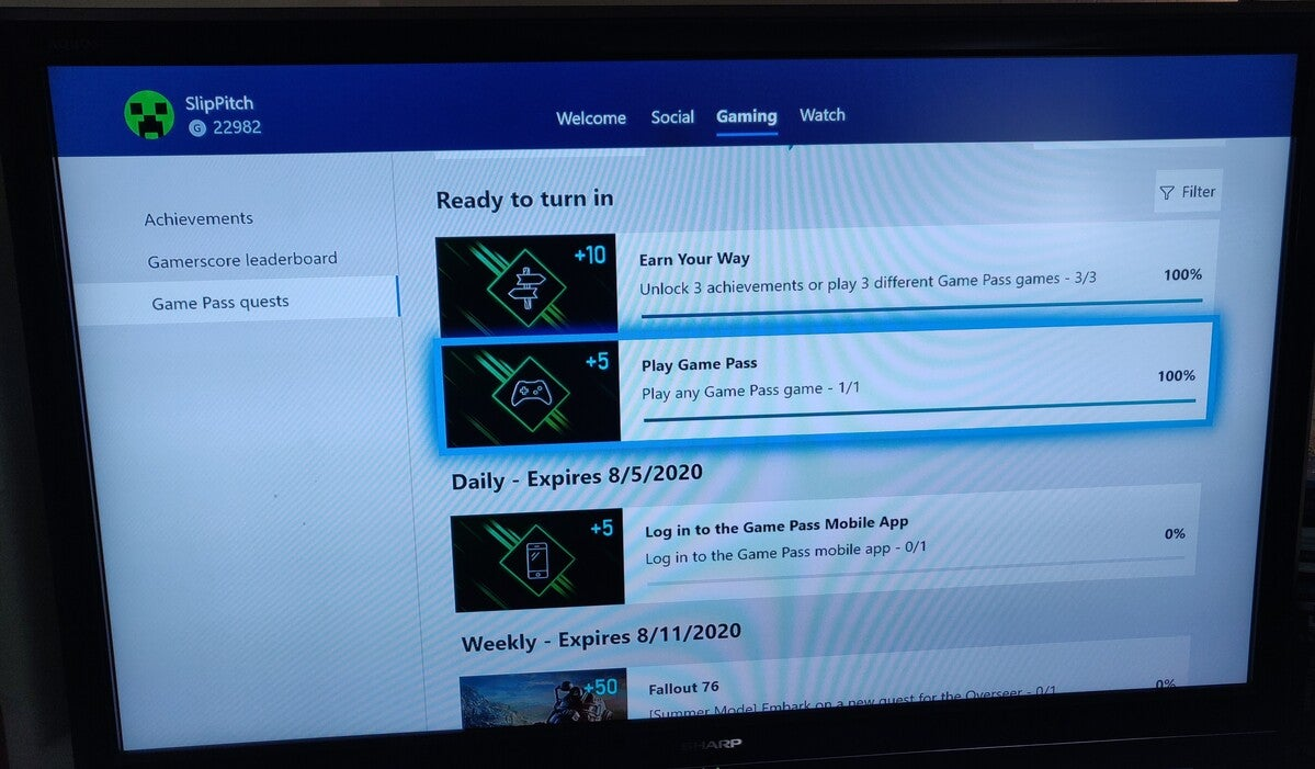 Microsoft Rewards Xbox Game Pass Quest