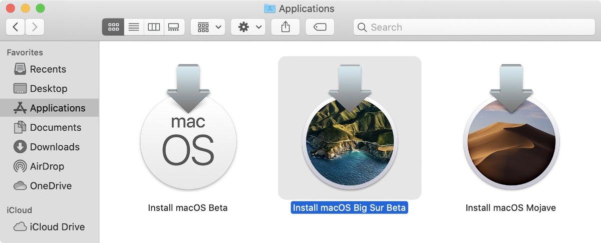 macos big sur beta installer app-mappen