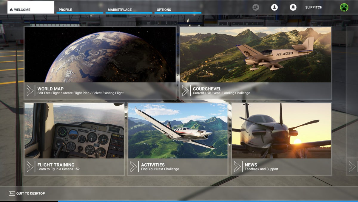 Microsoft Flight Simulator main screen