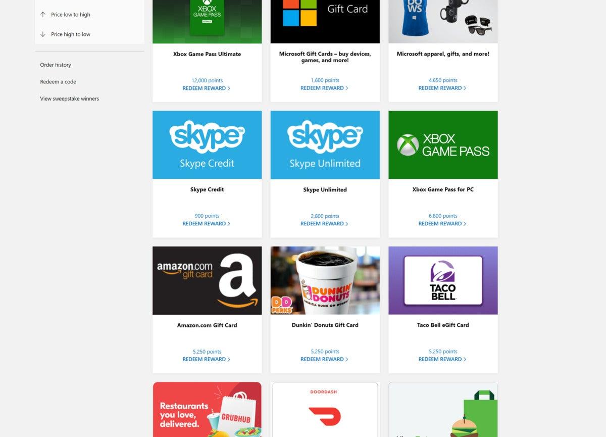 microsoft rewards redemption page