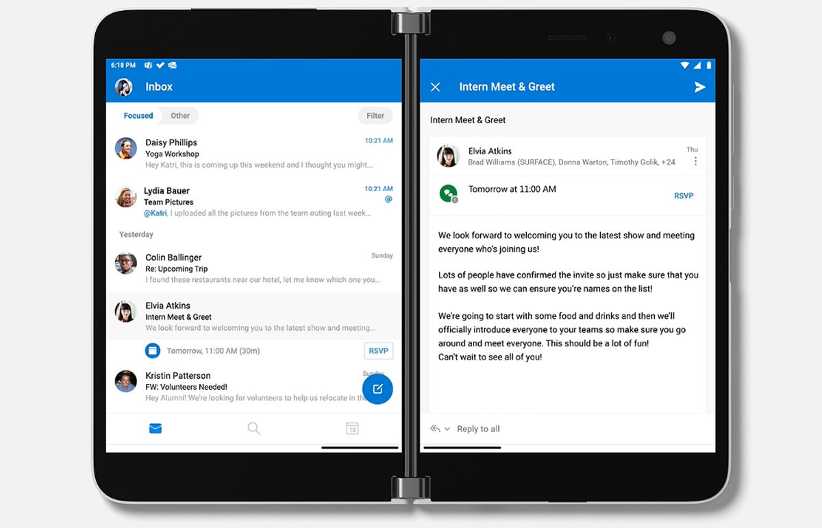 Microsoft Surface Duo - Outlook