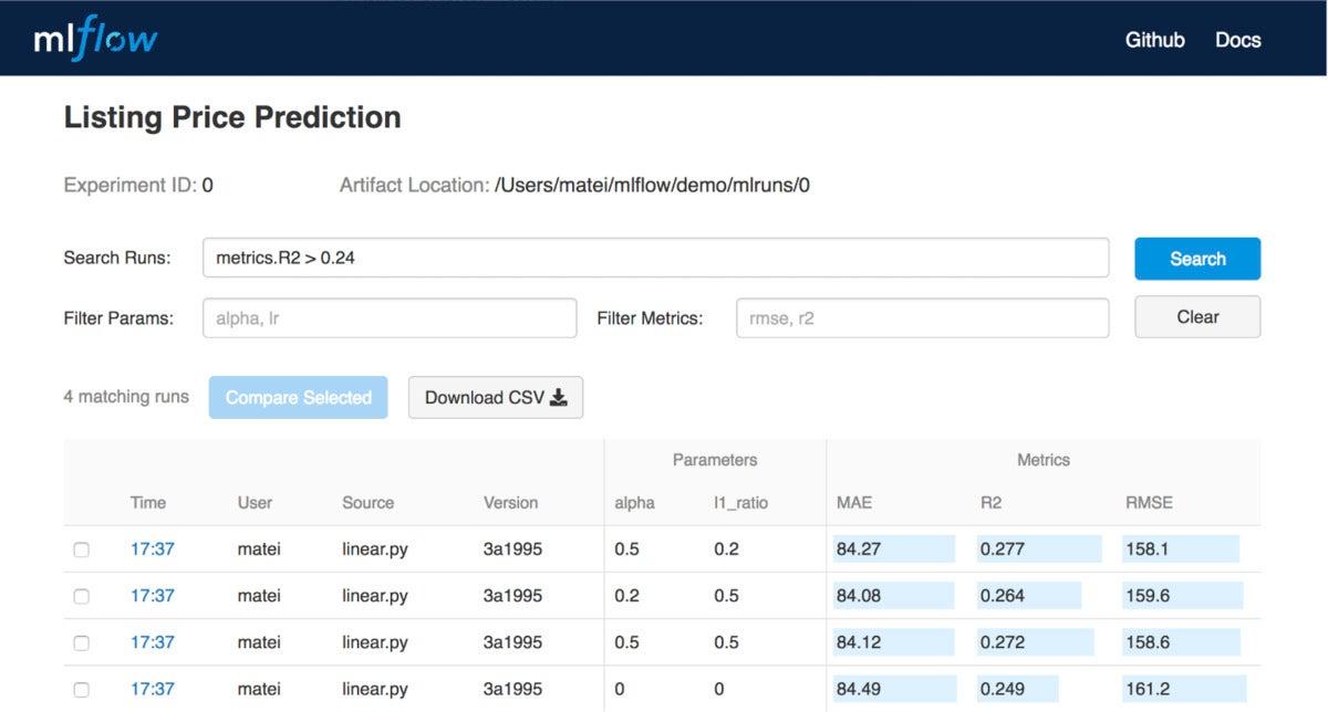 mlflow listing price prediction