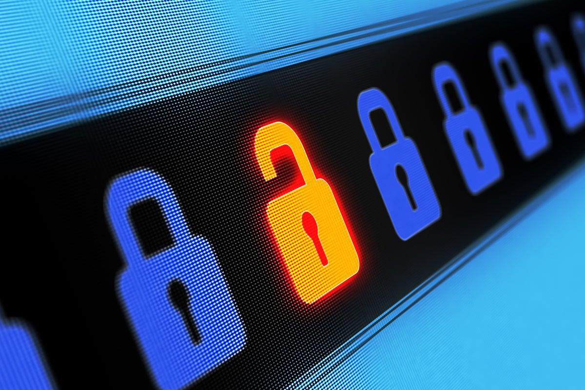 One lock in a series is unlocked / weakness / vulnerability