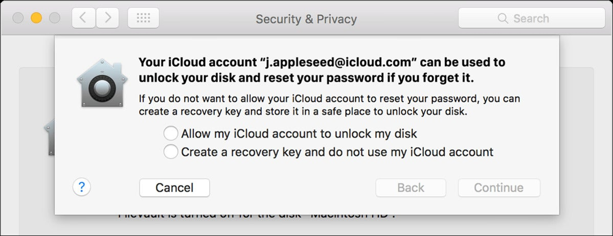 osx elcapitan security privacy filevault recovery key sheet